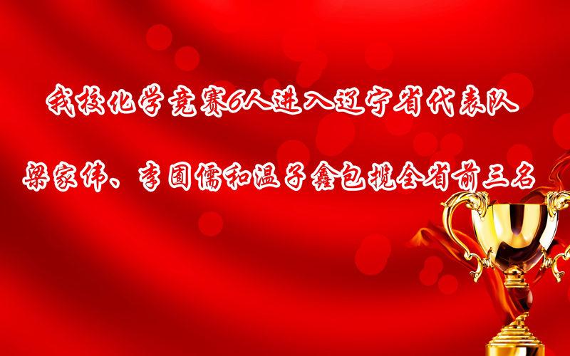 大连育明高中化学竞赛6人进入辽宁省代表队 梁家伟、李囿儒和温子_